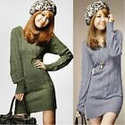 Fashion Womens Long Sleeve Knitwear Jumper Pullover Sweater Knit Mini Dress Tops