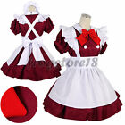 Japanese School Girl Maid Costume Red Uniform Cosplay Outfit Fancy Dress S M L