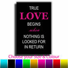 Quote Art True Love Canvas Print Box Framed Picture