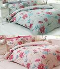Susan Oriental Floral Flowers Birds Reversible Duvet Cover Quilt Bedding Set