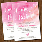 Pink Butterfly Wedding Day Invitations with Envelopes *Watercolour Butterflies