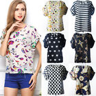 Fashion Women Floral Chiffon Batwing Sleeve Loose Blouse T-shirt Tops Tee S-2xl