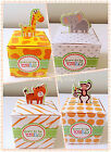 12x Giraffe Tiger Monkey Elephant Baby Shower Birthday Party Favour Paper Boxes