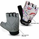 Ladies Cycling Gloves Cycle Half Finger Bicycle Gel Padded Fingerless Sports