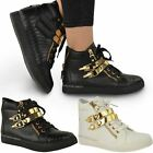 WOMENS LADIES HI HIGH TOP TRAINERS GOLD STRAP PUMPS SNEAKERS ANKLE BOOTS SIZE