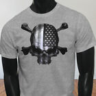 4th of July Independence day USA Flag Skulls Rebel Mens Gray T-Shirt
