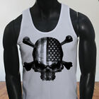 4th of July Independence day USA Flag Skulls Rebel Mens White Tank Top
