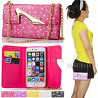 Fashion Lady Girl Handbag Leather Wallet Case + Gold Chain For iPhone & Samsung