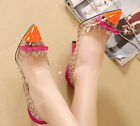 Womens Pointy High Heel Toe Rivet Pumps Sandal Party Bowknot Stiletto New Shoes