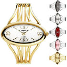 Fashion Womens Girl Oval Case Bangle Cuff Bracelet Analog Quartz Wrist Watch