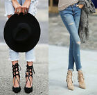 Womens Ladies Faux Suede Lace Up Back Zipped Heels Gladiator Sandals Shoes