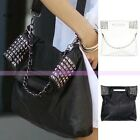 European Women Ladies PU Leather Rivet Handbag Tote Shoulder Bag Messenger