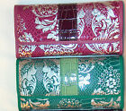 30 % OFF Croc Croco Embossed Damask Faux Leather 14 Card Slot Trifold Wallet nwt