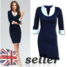 Ladies Casual Bodycon Business Wear Pencil Dresses Work Shirt Career V-neck Blue
