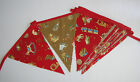 Hand Made 10ft /13 Flag Christmas Fabric Bunting Garland Red and Gold Toy Shop