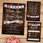 Package Deal: Wedding Invitation, RSVP Card & Poem Card *Vintage Wood Bunting
