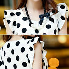Women Casual Chiffon Blouse Polka Dot Short Sleeve Shirt T-shirt Summer Tops A18