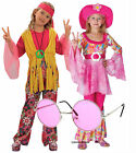 Hippy Hippie Girl Kids 60s 70s Fancy Dress Costume Outfit Groovy Pink Shades