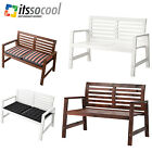 OUTDOOR BENCH with BACKRESTbrown stained and white for Garden Patio Balcony