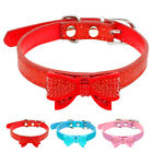 Bling Shimmer Cute Bowknot Puppy Dog Collar for Small Breeds XS S M for Girl Red