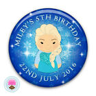 Personalised Frozen Elsa Girl's 4th 5th 6th 7th 8th Birthday Party Badge (58mm)