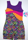 Nwt New Jacques Moret Biketard Unitard Tank Colorful Pixel Leopard Cute Girl