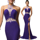 PURPLE Backless Mermaid Sleeveless Ball Prom Gown Formal Evening Party Dress New