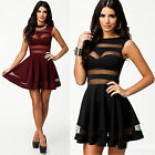 New Womens Casual Mini Dress Party Evening Cocktail Short Dress Black Red S XS
