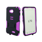 For LG OPTIMUS L70 MS323 EXCEED 2 Rugged Armor Hybrid Kickstand Cover Case