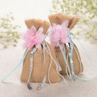 12/48/60PCS Rustic Burlap Gift Bags Candy Jewelry Pounch Hessian Wedding Favors