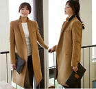 Chic Womens POLO Collar Double-Breasted Dust Coat Long Wool Blend Jacket Coats