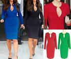 AU SELLER Sexy Womens Bodycon Long Sleeve Cocktail Party Slim Dress dr018