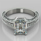2.12Ct Emerald Cut Filigree Engagement Ring 14K White Gold