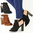 LADIES WOMENS TASSEL FRINGE SHOES BLOCK HIGH HEEL ANKLE BOOTS STRAPPY NEW SIZE