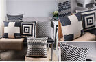 New black white Geometric cotton linen pillow sofa car cushion case cover Q2197