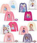 Girls Disney FROZEN Princess SOFIA THE FIRST Long Sleeve CHARACTER Top T- Shirt