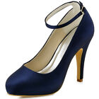 EP11049-IP Navy Blue Closed Toe High Heel Platform Satin Evening Party Shoes
