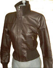 Women Dark Brown Funnel Neck Leather Jacket Sz XS-3XL 12 Colors