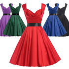 LADIES SATIN VINTAGE FULL CIRCLE 40s 50s RETRO PINUP PARTY PROM COCKTAIL DRESSES