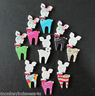 Novelty Wooden Buttons - Reindeer #2 - Shabby Chic - Christmas - Cards/Crafts