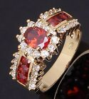 Womans Size 8,9,10,11 Cocktail Red Garnet 18K Gold Filled Fashion Rings Halo