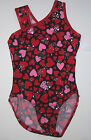 NWT New Alpha Factor Leotard Leo Heart Red Pink Silver Hologram Dots Cute Girl