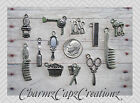 12pc Silver Hairstylist Hairdresser Barber Hair Charm Set Lot Collection/Jewelry
