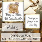 Personalised Wedding Day Milk Chocolate Gold Foil Square Favours Gifts WDLSC7