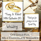Personalised DIY Wedding Day Milk Chocolate Square Favours Gifts WDLSC8