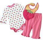 NEW 3 Piece Baby Long Sleeve Bodysuits / Pants / Bibs STRAWBERRY 3~18months 5697