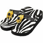 MISS TRISH LADIES DESIGNER WEDGE FLIP FLOPS - BLACK/BLACK - LION UK SIZES 3 - 8