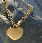 STAINLESS STEEL GOLD FILLED HEART CHARM BRACELET WITH RHINESTONE CZ ENGRAVED
