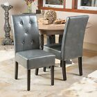Set of 2 Elegant Marbled Grey Leather Dining Chairs w/ Buttons Tufted Accent