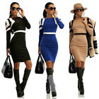 Womens Bodycon Dress Long Sleeve Pencil Dress Party Night Clubwear Mini Dresses